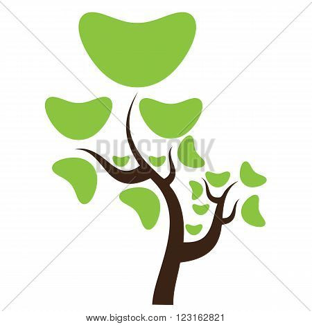Creative abstract stylized tree. Solid and flat color design. Illustrated vector