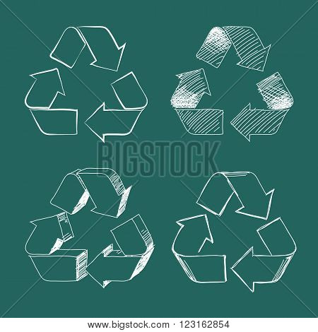 Set of four white isolated hand drawing vector recycle symbols on green board.