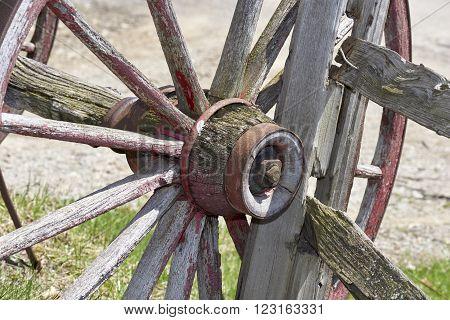 conestoga wagon wheel resting against split-rail fence in barnyard