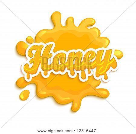 Honey label splash. Blot and lettering on white background. Splash and blot design, shape creative vector illustration.