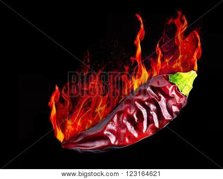 Hot dryed chili peppers on a black background