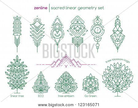 Vector linear abstract emblem set, thin line design logo and signs of trees, geometric shapes