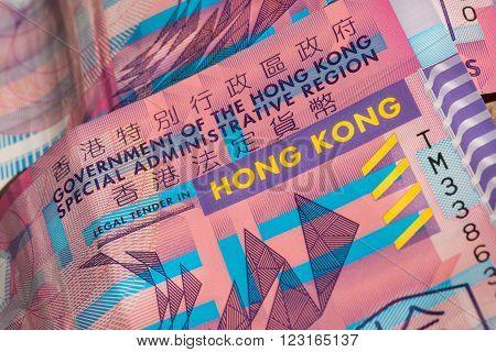 Plastic banknote of Hong Kong dollar. Government finance bank ten dollars.