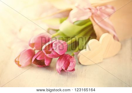 Beautiful romantic composition with flowers, St. Valentines Day concept