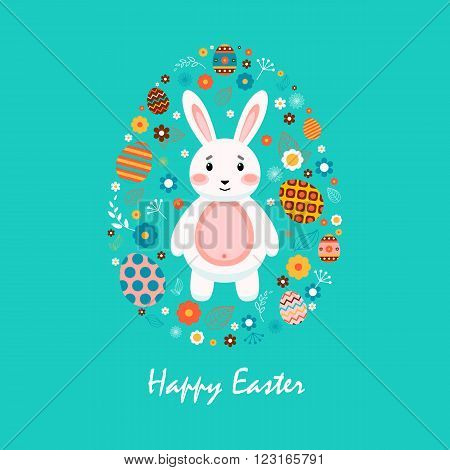 Stock vector illustration Happy Easter with Easter bunny, colored Easter eggs, spring decoration, leaves, flowers in flat style on blue background to printed materials, website, postcard, greeting