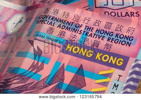 Background from bills of Hong Kong dollars. Government finance bank ten dollars.