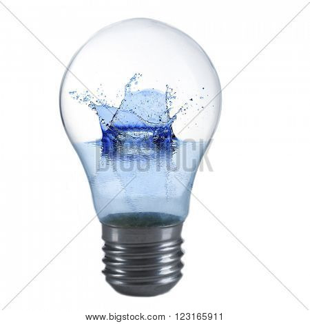 Light bulb with water isolated on white
