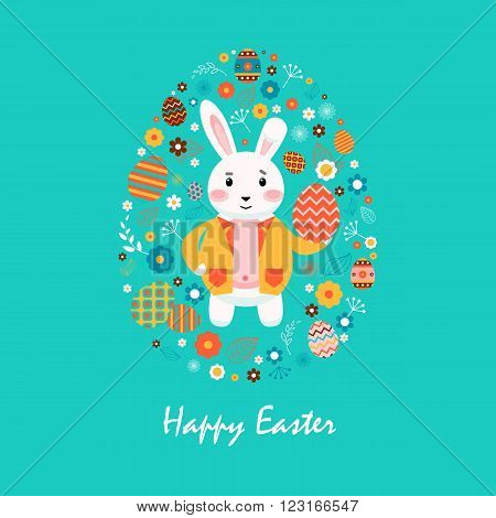 Stock vector illustration Happy Easter bunny in yellow jacket, colored Easter eggs, spring decoration, leave, flowers in flat style on blue background to printed materials, website, postcard, greeting