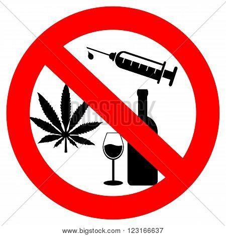 No drugs and alcohol sign isolated on white background