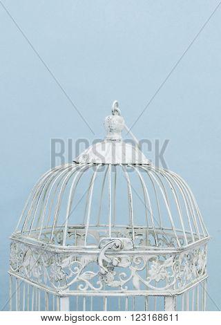 studio shot of a white vintage birdcage detail