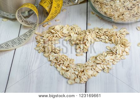 Heart from oatmeal/ Banana smoothie with oatmeal  , healthy Eating