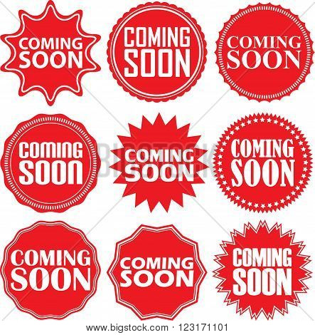 Coming Soon Signs Set, Coming Soon Sticker Set, Vector Illustration