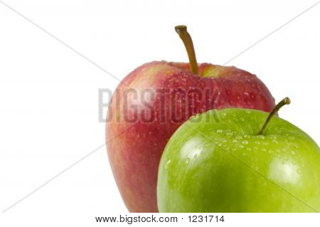 Green And Red Apple In The Corner