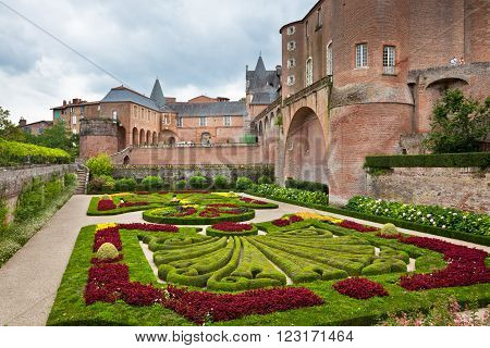 ALBI FRANCE - AUGUST 09: Palais de la Berbie Gardens at Albi Tarn France on August 09 2014. Beautiful flowerbed