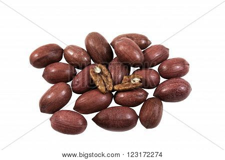 Whole Pecan and open one on a white background