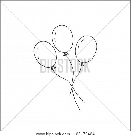 Three balloons on a string. Icon balloons. The symbol of the holiday the festival of the birth. Toy for children. Isolated on white background. The image of balloons in the style of the line.