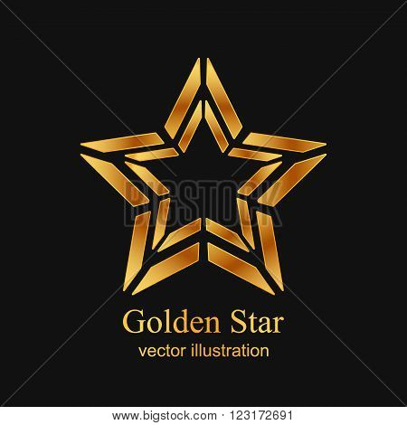 Gold star logo, Gold star icon, Gold Abstract star on black background. Vector illustration EPS10