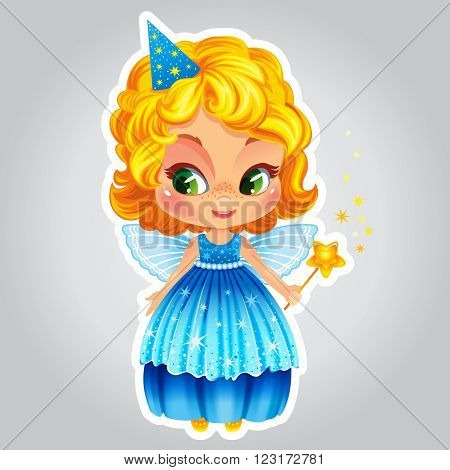 Vector illustration with little fairy in shiny dress