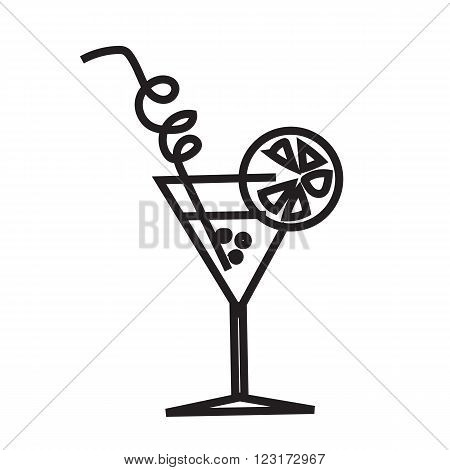 Simple symbol cocktail. Cocktail in line style. Black and white cocktail icon. cocktail icon. Isolated cocktail image. Art Line. Vector cocktail. Cocktail with a straw and a slice of lemon