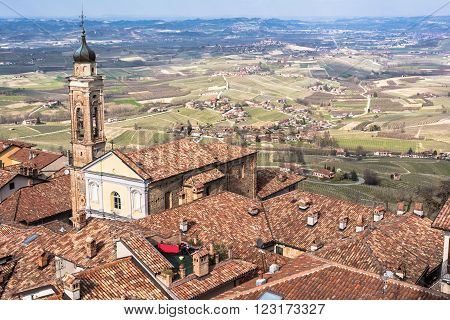 La Morra,Cuneo,Italy,Europe - March 20, 2016 :  view of La Morra and its vineyards from the Bell Tower,  view of La Morra, Langhe Roero, Italy