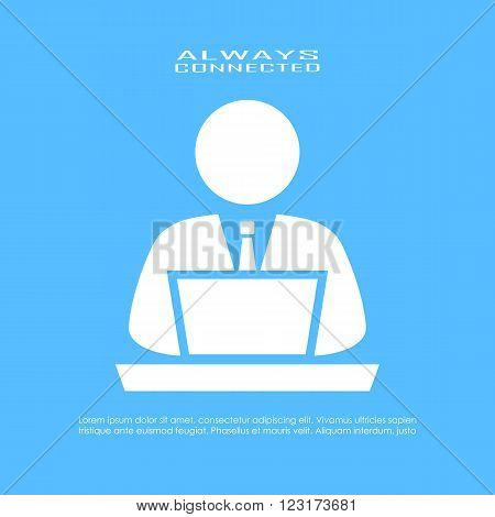 Computer user icon isolated on blue background