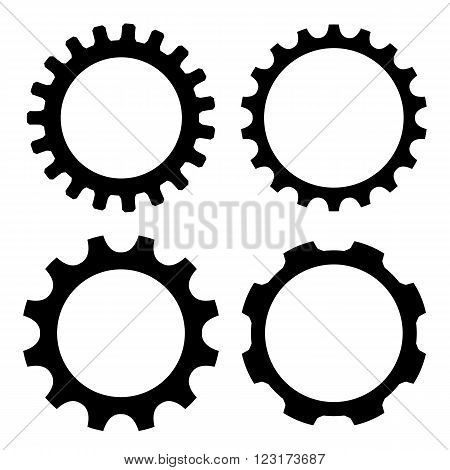 Gear wheel icons isolated on white background