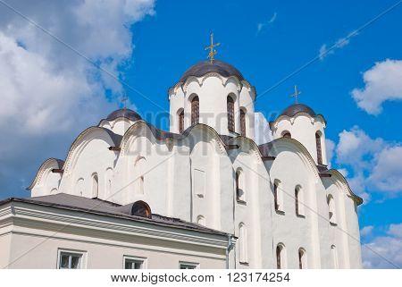 Russia. Fragment of The Saint Nicholas Cathedral (Nikolo-Dvorishchensky Cathedral) on Yaroslav's Court in Veliky Novgorod. Was built in 12 century.