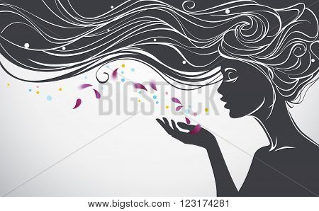 Vector illustration with beautiful long hair girl blows away flower petals from her palm