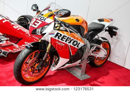 NEW YORK - March 23: A Honda CBR 1000 RR motorcycle exhibit at the 2016 New York International Auto Show during Press day, public show is running from March 25th through April 3, 2016 in New York, NY.