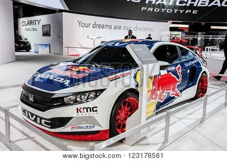 NEW YORK - March 23: A Honda Civic Coupe with exhibit at the 2016 New York International Auto Show during Press day,  public show is running from March 25th through April 3, 2016 in New York, NY.