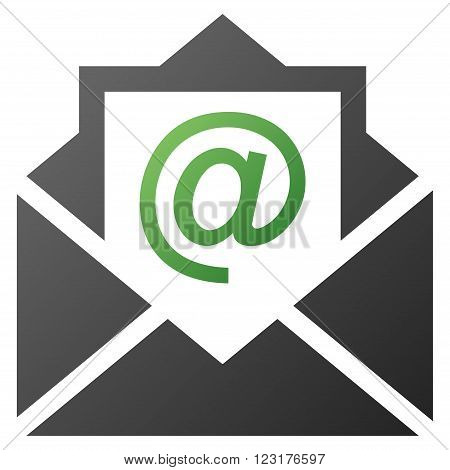 Open Email vector toolbar icon for software design. Style is gradient icon symbol on a white background.