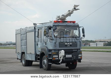 ANKARA/TURKEY-MAY 6, 2012: Turkish Air Forces' firefighting truck at the Etimesgut Military Airport during the air fest. May 6, 2012-Ankara/Turkey