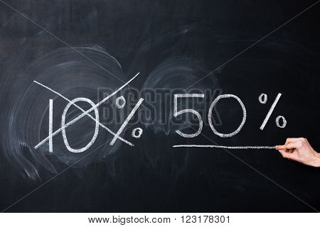 Ten and fifty percent drawn on blackboard by hand