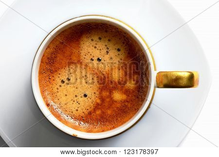 one cup of delicious hot coffee on white plate