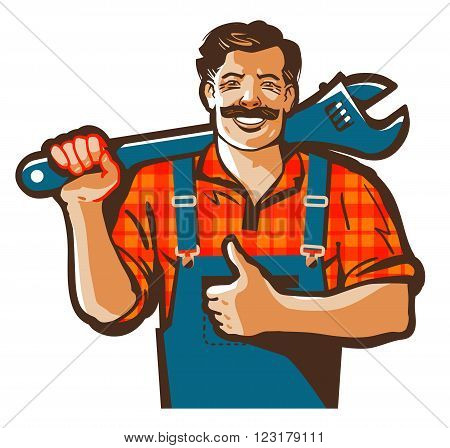 plumber with a wrench in his hand isolated on a white background. vector illustration