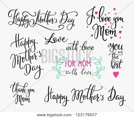 Happy Mothers day simple lettering. Calligraphy postcard or poster graphic design lettering element. Hand written calligraphy Mothers Day postcard design. Photography overlay. I love Mom Thank you Mom