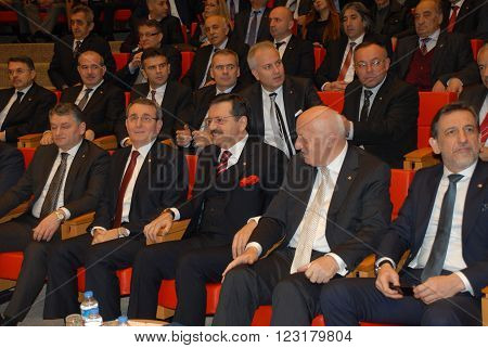 ANKARA/TURKEY-JANUARY 14: President of The Union of Chambers and Commodity Exchanges of Turkey (TOBB) M.Rifat Hisarciklioglu (3rd right) at the General Assembly Hall. January 14, 2014-Ankara/Turkey