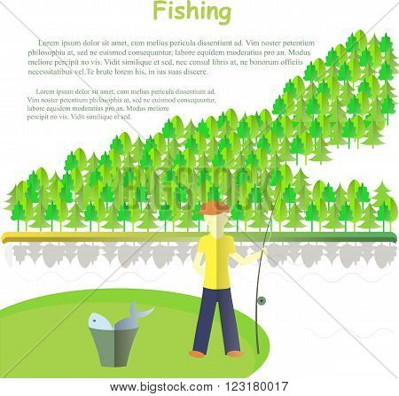 Typography banner Fishing, Lorem ipsum. Fishing with a fishing rod, a bucket of fish, river, forest on white. Design element, vector