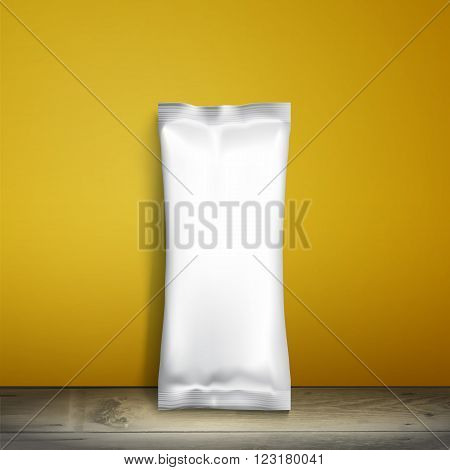 Blank white packaging. Sample package. Blank template for design. Net packaging is on shelf. Mockup Foil Food Snack pack, packaging, wrapper. Plastic Pack Template for design and branding. yellow wall