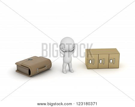 3D character is stressed, having a briefcase and an archiving cabinet next to him. Isolated on white background.