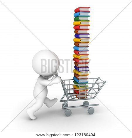 3D character pushing a shopping cart with a tall stack of colorful books. Isolated on white background.