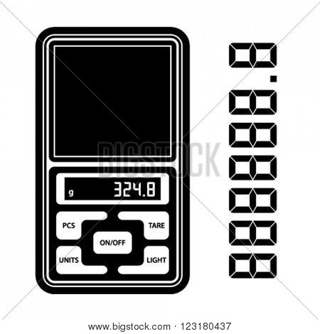 vector portable digital weight scale black symbol