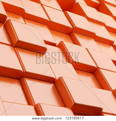 Orange Abstract background with cubes. 3d render