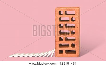 Brown Brick with falling down white dominoes.
