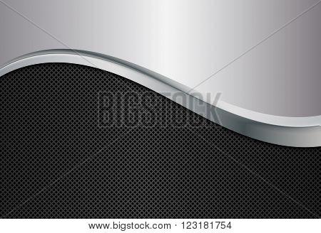 Silver and black metallic background, Abstract vector illustration