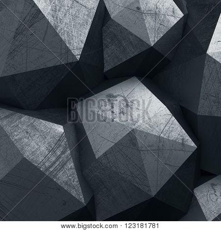 Dark Abstract 3d polygonal background. 3d render