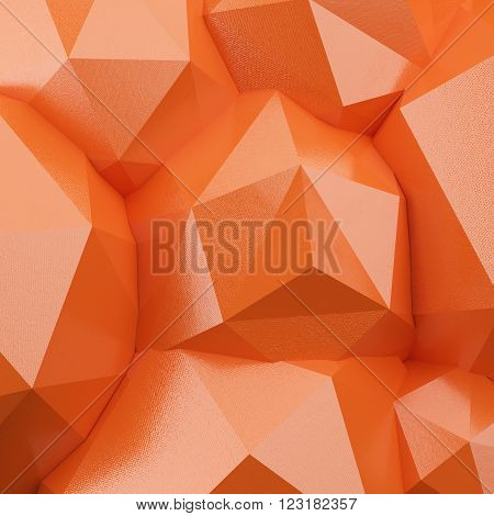 Abstract 3d orange polygonal background. 3d render