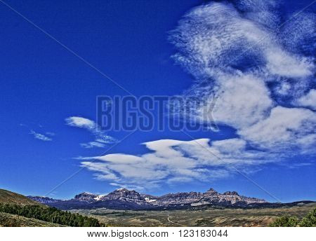 Absaroka Mountain Range Under Summer Cirrus Clouds