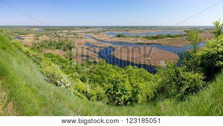 summer aerial view on delta Vorskla river at Ukraine