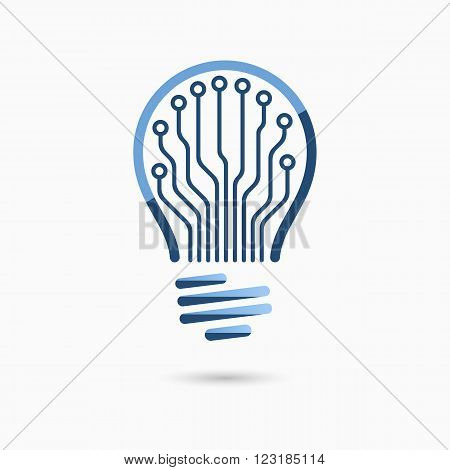 Light bulb idea icon with circuit board inside. Light bulb sign, light bulb symbol. Business idea concept. Technology concept. Information concept.